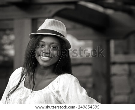 Black and white Beautiful African-American teenage girl - stock photo