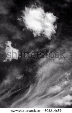 Black and White Beautiful Clouds  in cloudscape / Beautiful Clouds   - stock photo