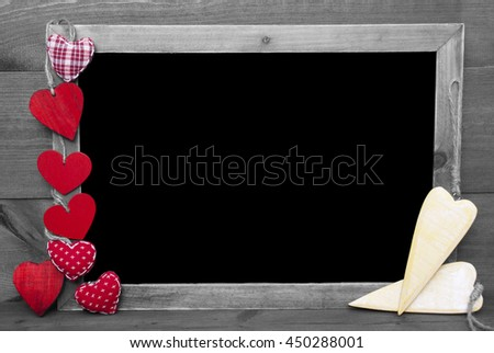 Black And White Blackbord, Red Hearts, Copy Space - stock photo