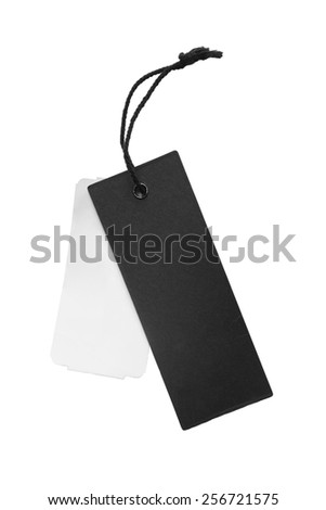 Black and white blank labels on white background - stock photo