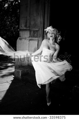 black and white blonde happy bride - stock photo