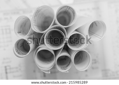 Black And White Blueprints - stock photo