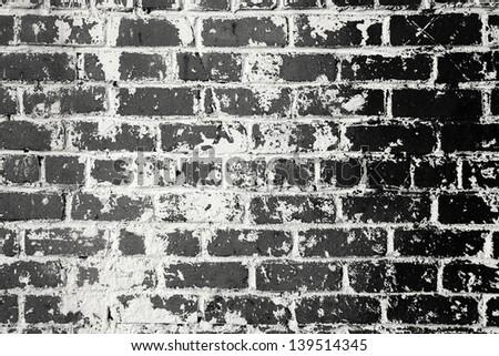 black and white brick wall background - stock photo