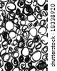 Black and white bubbles background. Drawn by hand with charcoal. - stock photo