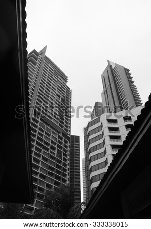 black and white building - stock photo