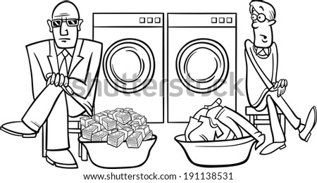 Black and White Cartoon Humor Concept Illustration of Money Laundering Saying or Proverb Coloring Book - stock photo