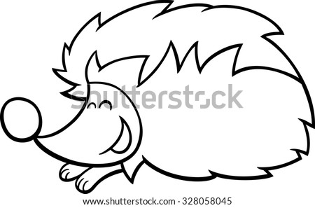 black and white cartoon illustration of cute hedgehog animal character coloring book