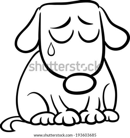 Sad Dog Cartoon Black And White Black And White Cartoon