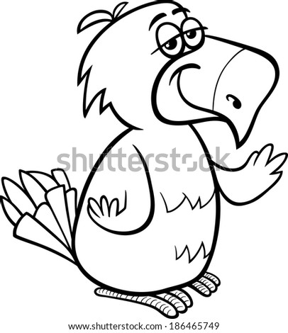 Black and White Cartoon Illustration of Funny Parrot Bird Character for Coloring Book - stock photo
