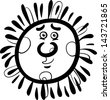 Black and White Cartoon Illustration of Funny Sun Comic Mascot Character for Children to Coloring Book - stock vector