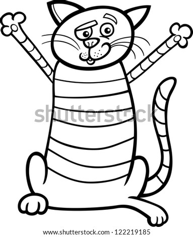 Black and White Cartoon Illustration of Happy Tabby Cat for Coloring Book