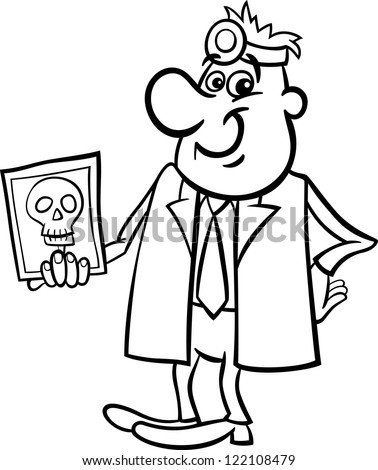Black and White Cartoon Illustration of Male Medical Doctor with X-ray Picture of Human Skull - stock photo