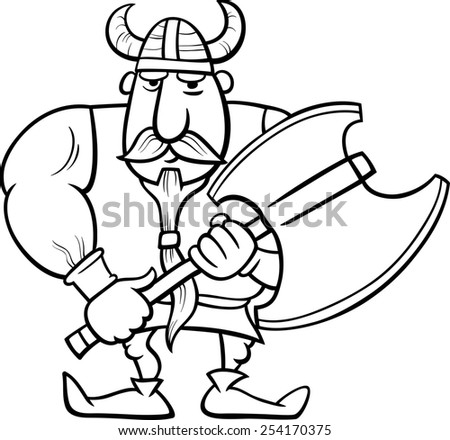 Black and White Cartoon Illustration of Viking or Knight with Axe for Coloring Book - stock photo