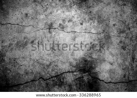 black and white cement cracked background - stock photo