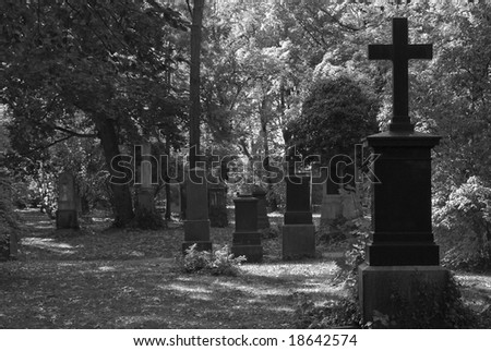 Black and White Cemetery Image with Crosses - stock photo