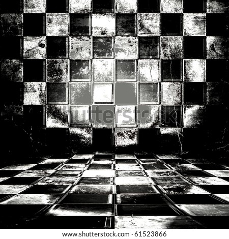 Black And White Check Grunge Room - stock photo