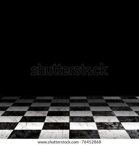 Black And White Checker floor Grunge Room. Checker floor lead into dark empty space - stock photo