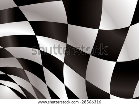 Black and white checkered flag being waved in the wind