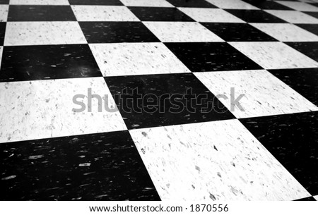 Black and white checkered floor. - stock photo
