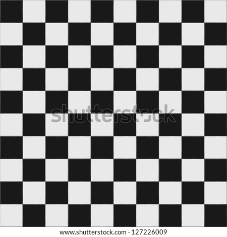 Black and white checkered floor tiles seamlessly as a pattern, top view - stock photo