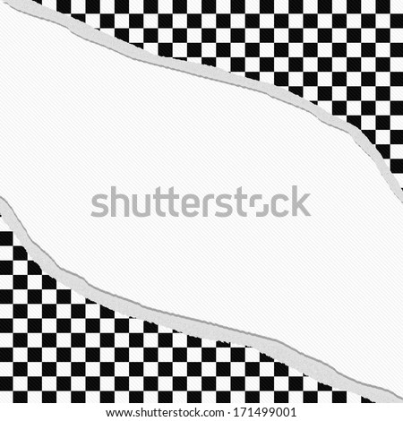 Black and White Checkered Frame with Torn Background with center for copy-space, Classic Torn Checkered Frame