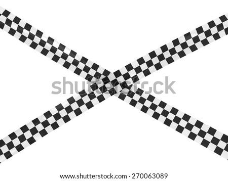 Black and White Checkered Race Finishing Line Tape Cross - stock photo