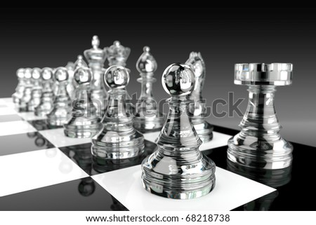 Black and white chess board and glass pieces
