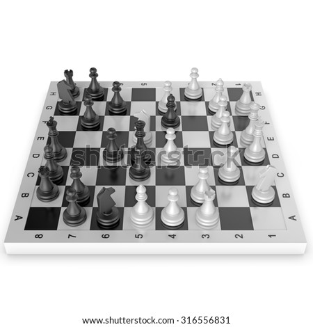Black and white chess isolated on white background
