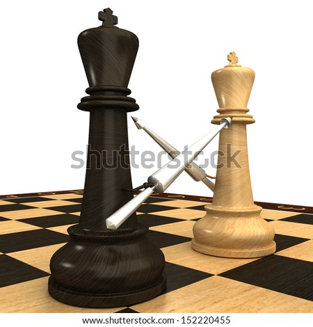 Black and white chess king with spears. isolated. white background. 3d - stock photo