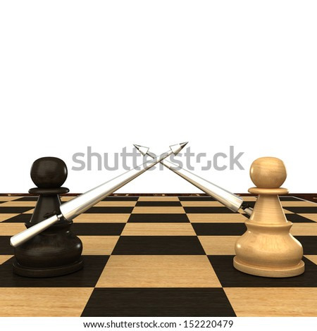 Black and white chess pawn with spears. isolated. white background. 3d