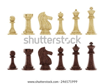 Black and white chess pieces isolated on white background - stock photo