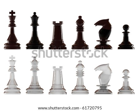 Black and white chessman isolated on white background. High quality 3d render. - stock photo