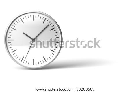 black and white chrome clock on white desk - stock photo