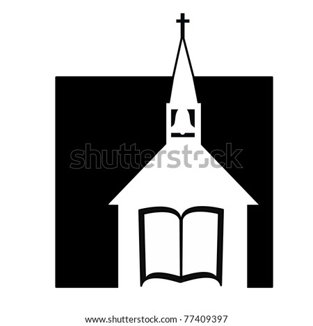 black and white church design layout with steeple, Bible, bell, and cross - stock photo