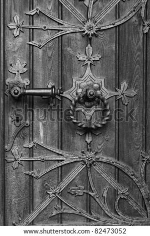 black and white church door - stock photo