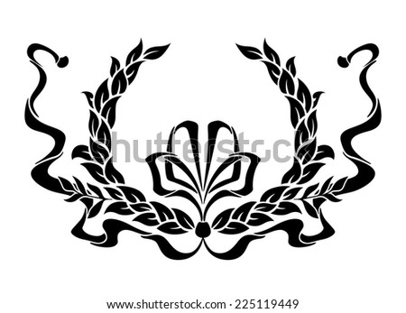 Black and white circular foliate laurel wreath with a swirling ornamental ribbon and bow - stock photo