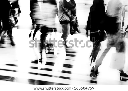 black and white city business people walking - stock photo
