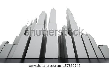Black and white city concept rendered  - stock photo