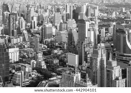 Black and white city downtown office building, cityscape background - stock photo