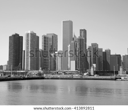 Black and white cityscape of Chicago