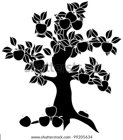 apple clip art black and white. black and white clip art illustration of an apple tree.