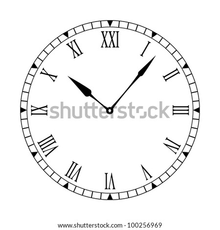 Black White Clock Face Easy Read Stock Vector 97585619