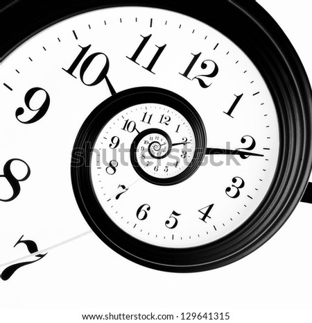 Black and white clock in droste effect - stock photo