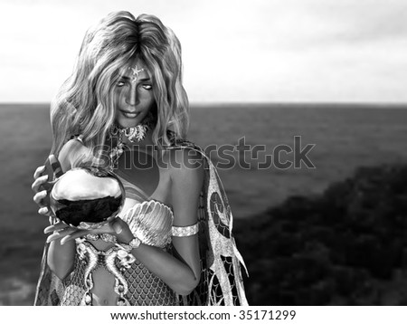 Black and White close up of beautiful Mermaid Queen carrying a shinny orb ball. Illustration