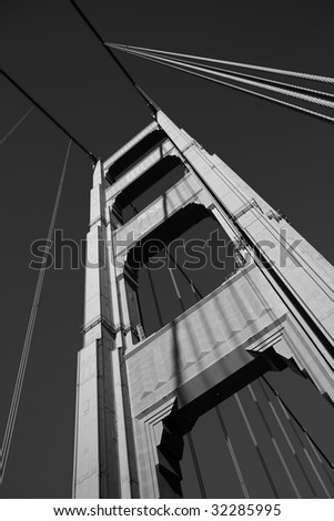 Black and White close up of one of the towers of the Golden Gate bridge - stock photo