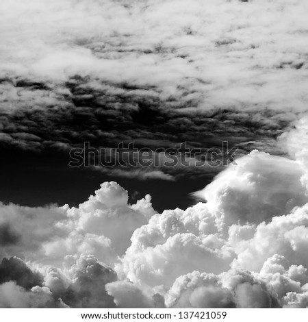 black and white clouds - stock photo