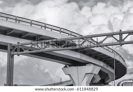 black and white clouds and bridge view, Saint Petersburg, Russia