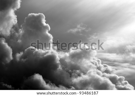 black and white clouds in the sunset - stock photo