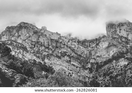 Black and white cloudy mountains in Cazorla, Jaen, Spain
