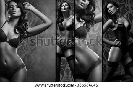 Black and white collage. Sexy woman posing in beautiful lingerie over dark background.